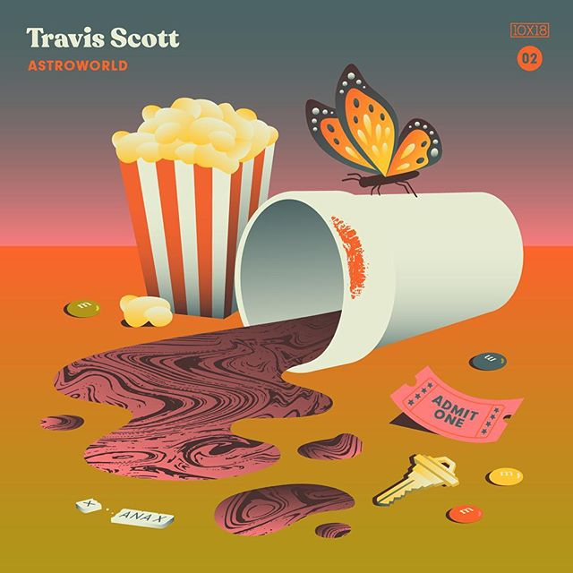 "10x18 Number 2: Travis Scott - ASTROWORLD, Fav Track: ""ASTROTHUNDER"" - The title of this record is totally appropriate. Cactus Jack has created his own universe here. At times disorienting, it lurches, dips and climbs, but it's always fucking fun. Just like a roller coaster. - Follow along all week and go check out the insanity by other artists at 10x18.co #10x18 @travisscott"