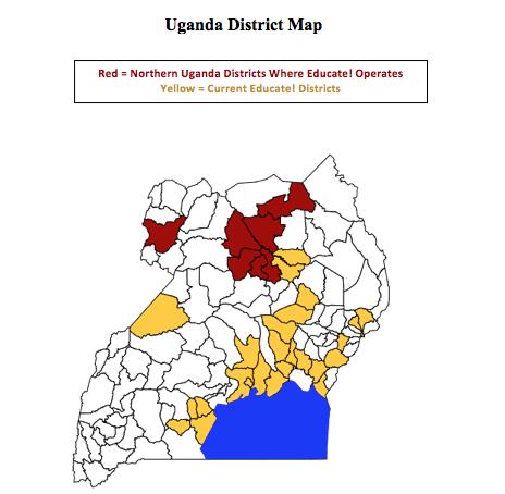 Uganda district map