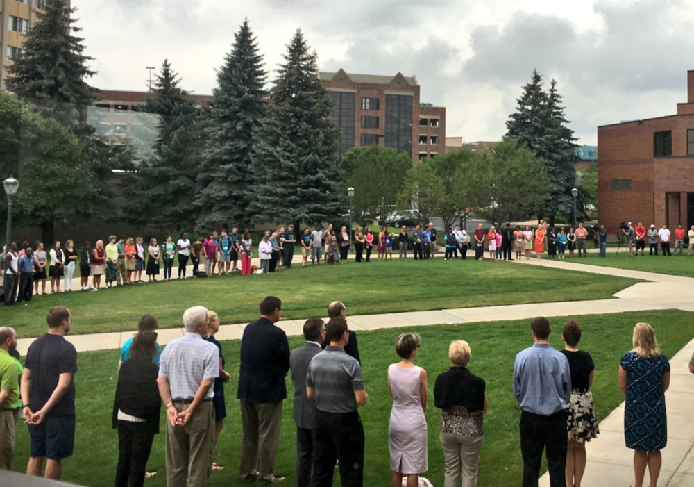 Students and staff joined in prayer for Milwaukee on Monday.