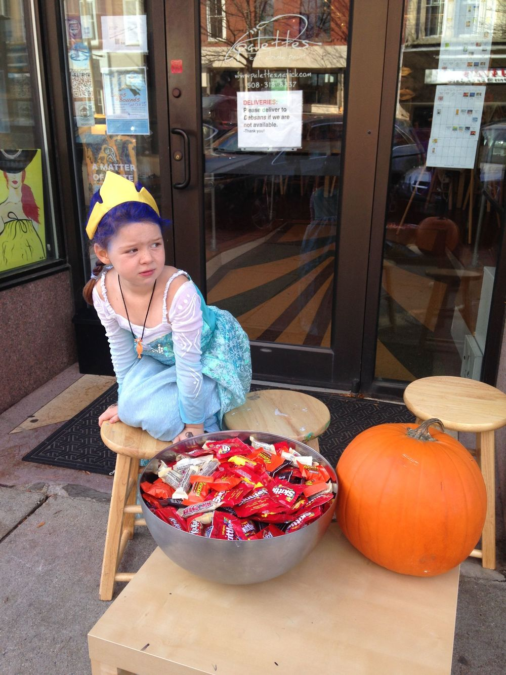 "Palettes co-owners ""Queen Ella of Natick"", her brother ""Prince Ben and Jerry"", mom and dad were at Palettes last Saturday handing out candy!"