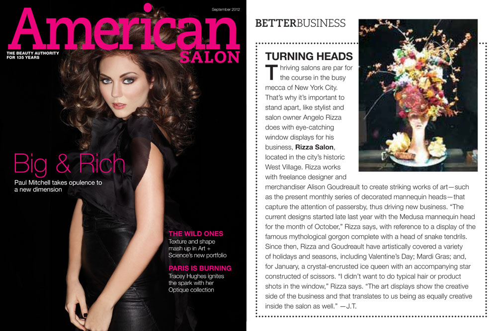 American Salon Magazine highlights the Rizza Salon window display series.
