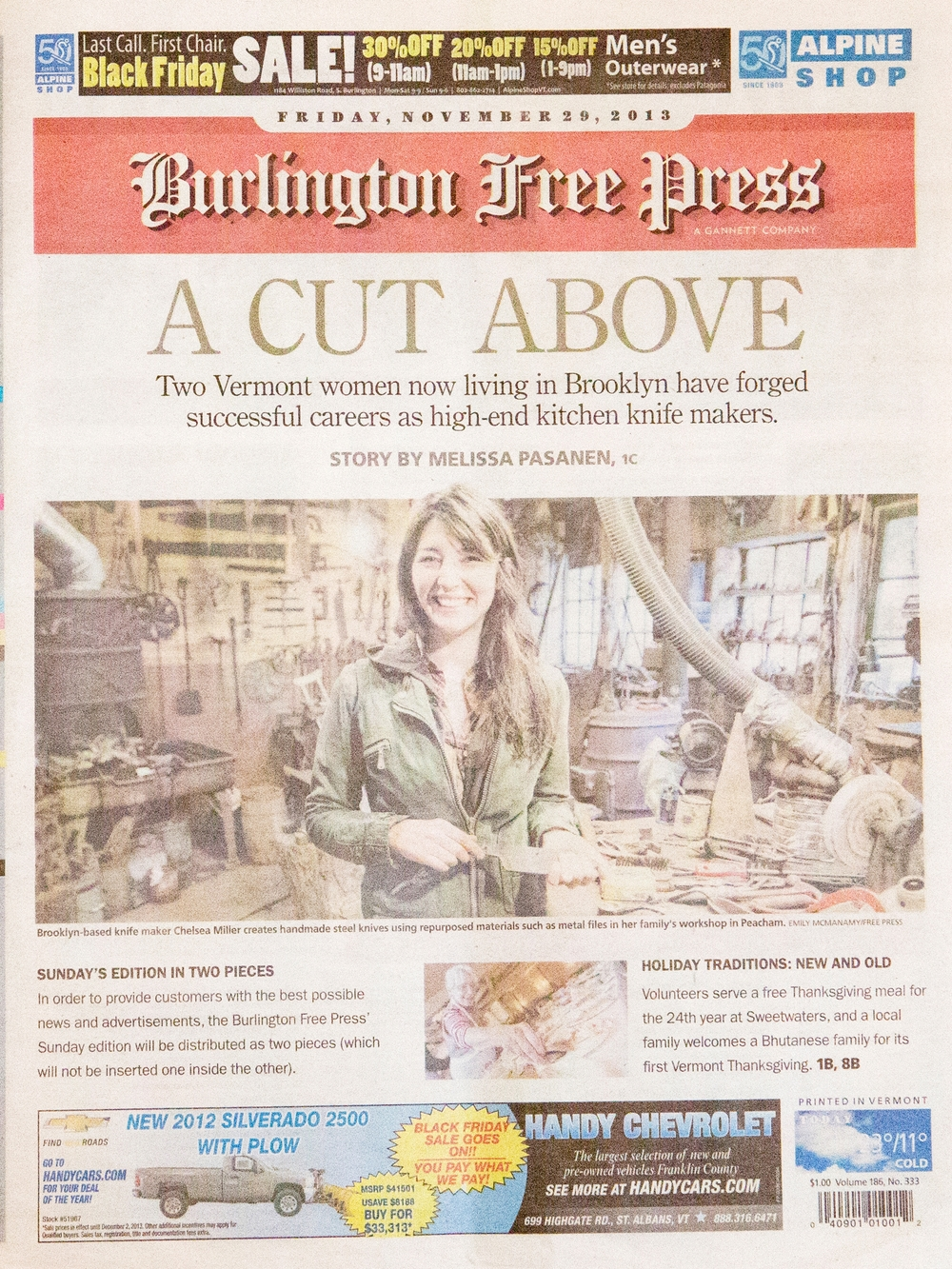 <p><a>BURLINGTON FREE PRESS </a>NOVEMBER, 2013</p>