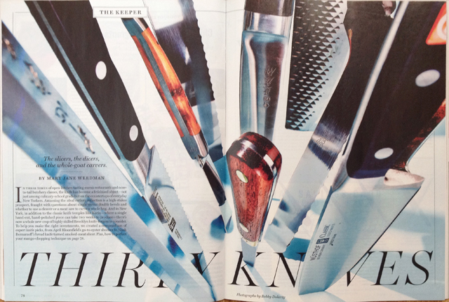 <p><a>NEW YORK MAGAZINE</a>THIRTY KNIVES - JUNE, 2014</p>