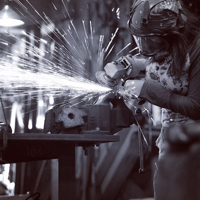 Having fun in my father's shop. . . #makingstuff #art #handmade #knives #anglegrinder #sparks