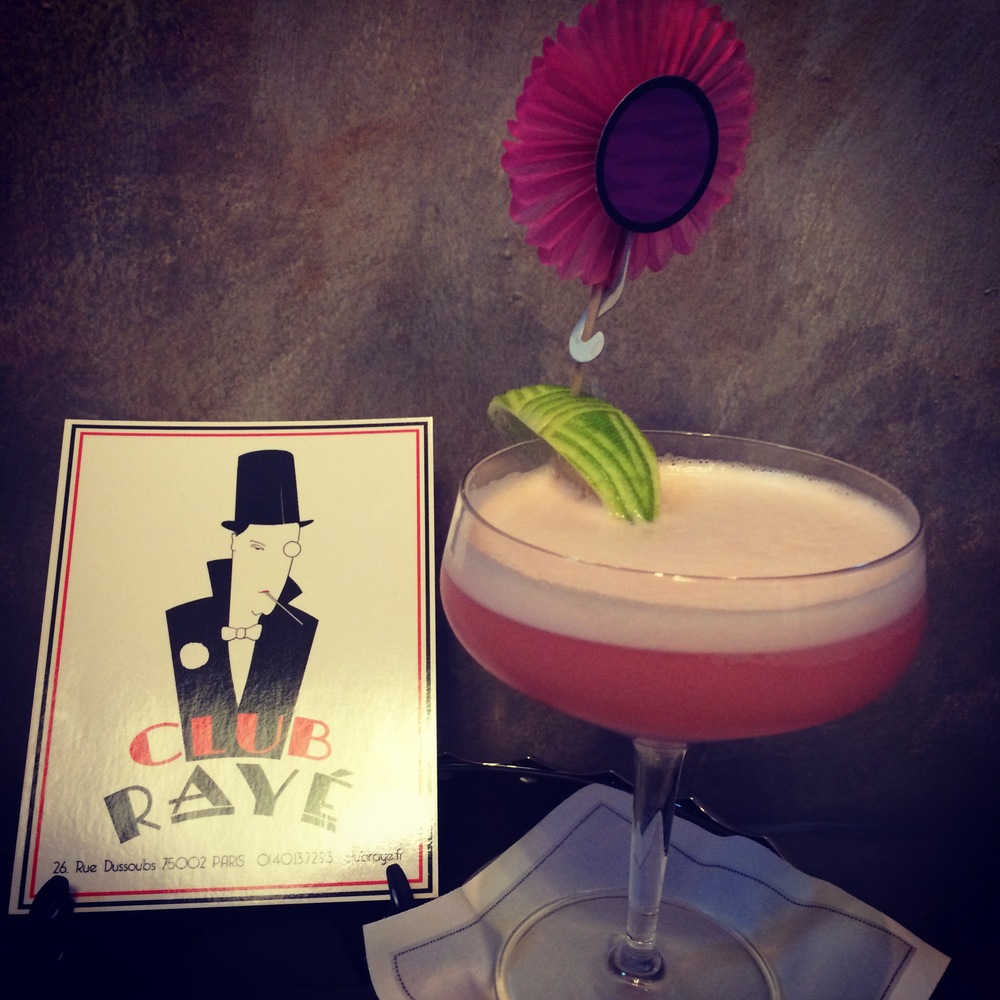Club Rayé Barmen Marco says : Pourquoi pas ? Barbie,a mix of strawberry vodka,Bahia de coco and pineapple juice!