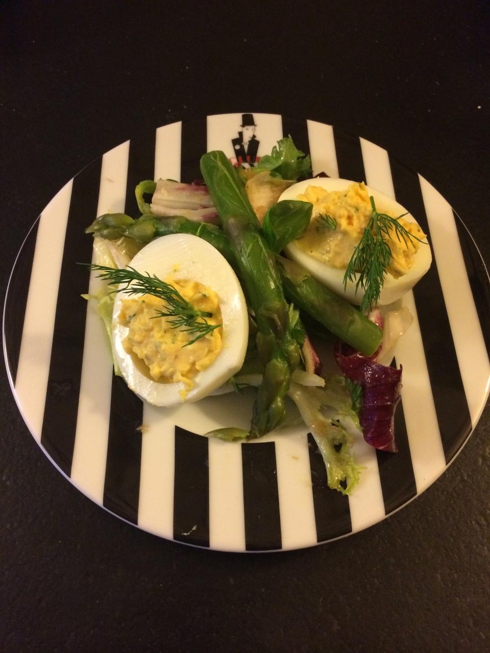 Oeuf diablo with asparagus vinaigrette