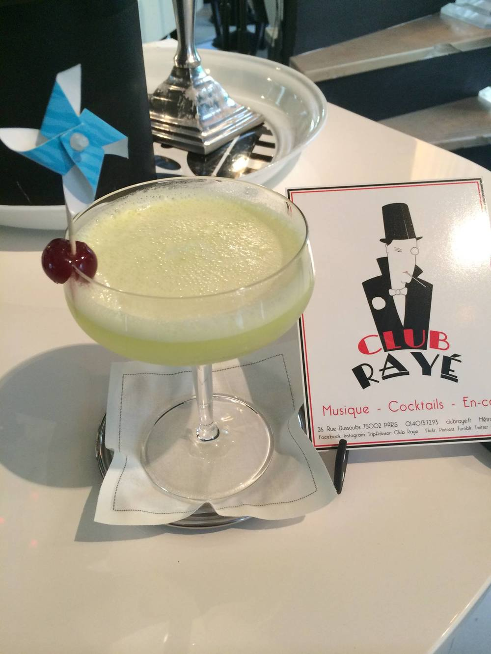 Club Rayé Barmen Marco says : Pourquoi pas ? Purple Rain, a mix of violettes syrup,rhum,pineapple juice and Bahia de Coco!