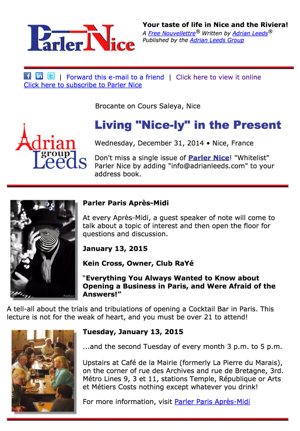 """Adrian Leeds - Living """"Nice-ly"""" December issue"""