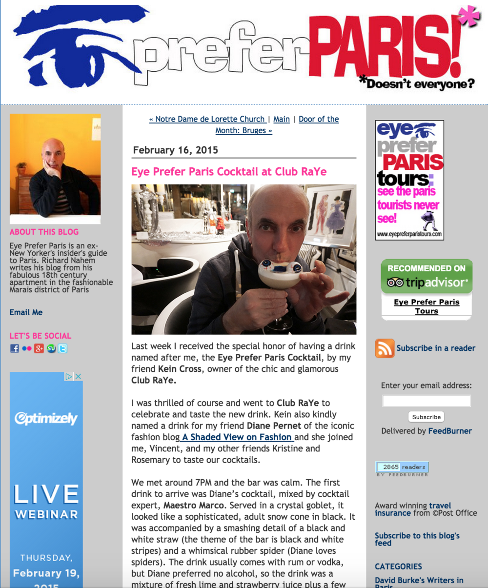 Eye Prefer Paris Cocktail at Club RaYe - February 2015