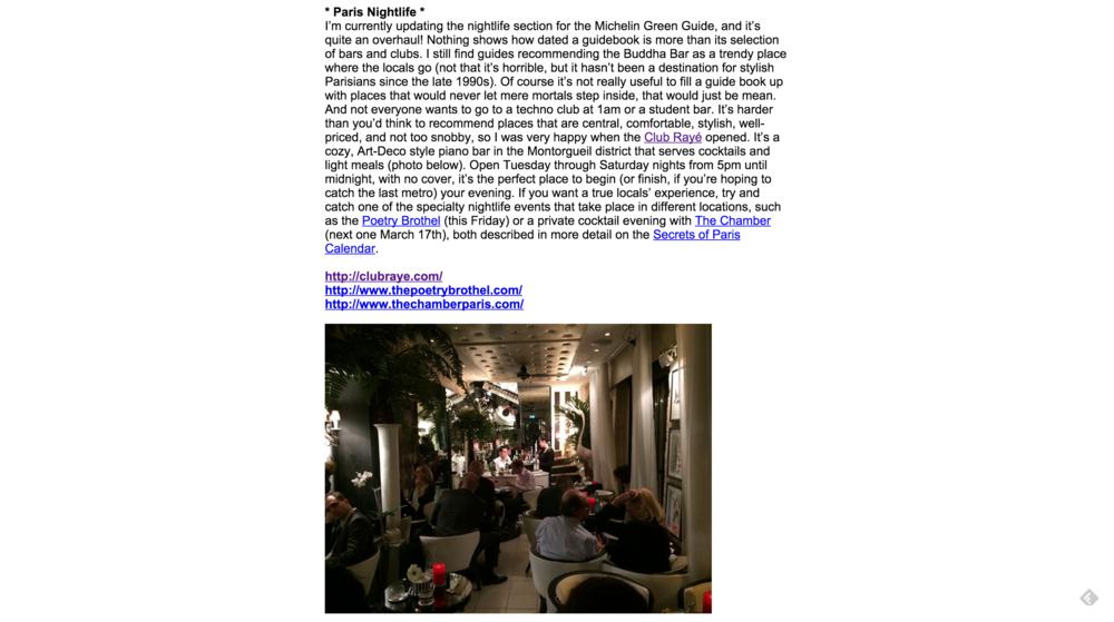 Secrets of Paris Newsletter #150 March 3, 2015