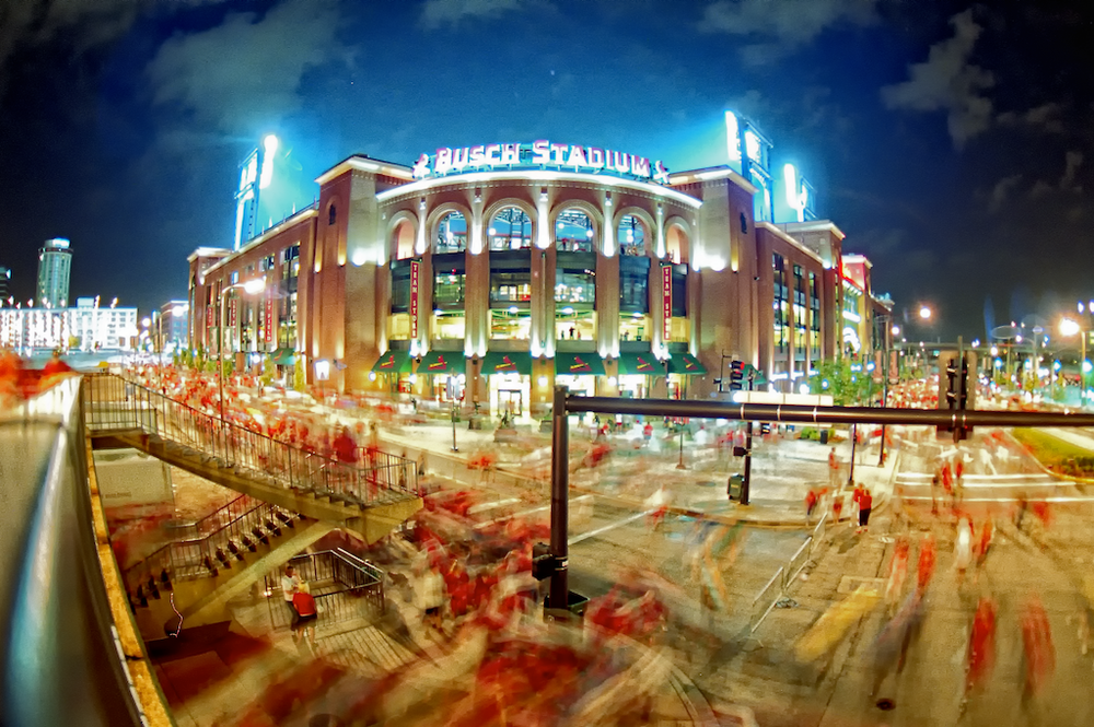 Busch Stadium, Konica Autoreflex TC, 16mm, Ektar bulb exposure