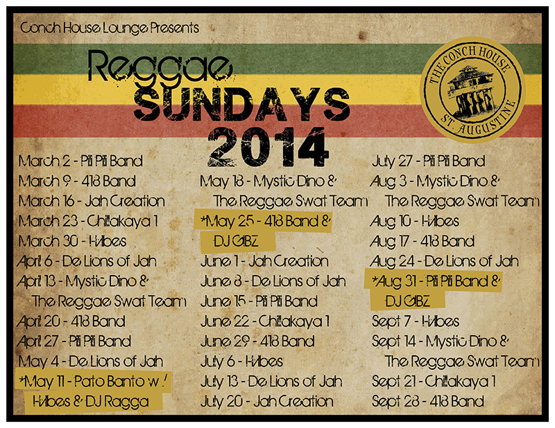 Reggae Sundays at the Conch House Marina for 2014 are from March 2 - September 28.