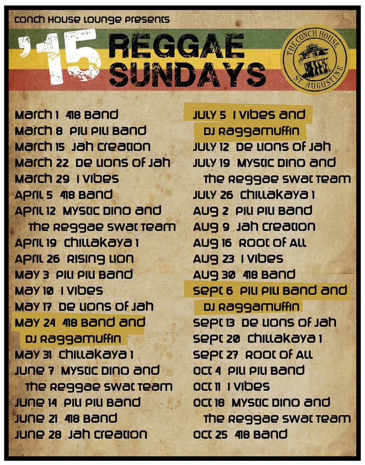 Conch House Reggae Sundays St. Augustine