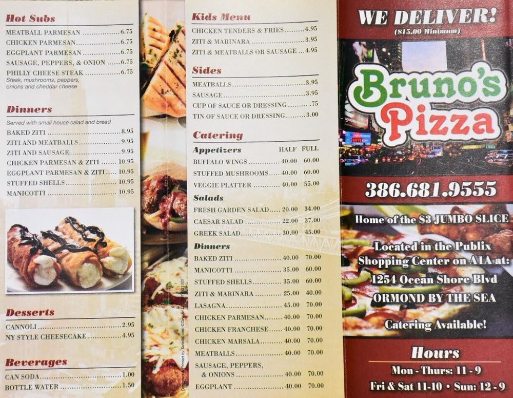 Bruno's Pizza Ormond Beach menu