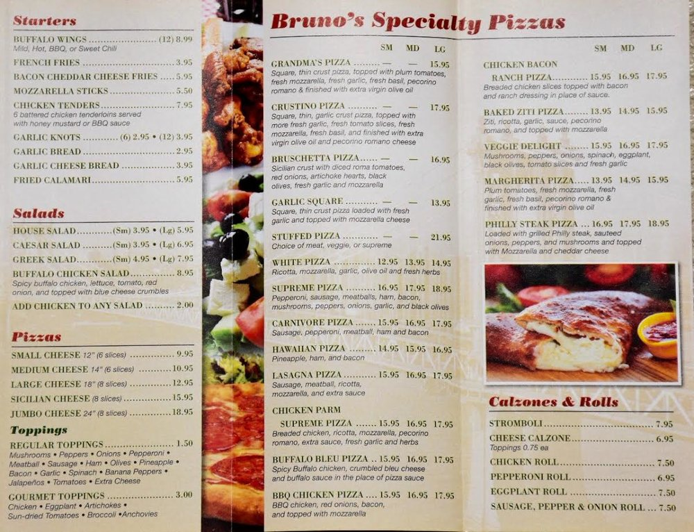 Bruno's Pizza Ormond by the Sea Menu