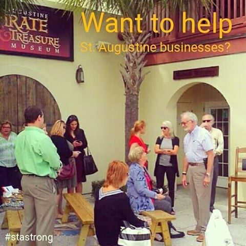 The @thepiratemuseum had a press conference with other businesses yesterday in #StAugustine to let everyone know they ARE OPEN!  While many businesses were flooded, a majority of businesses are now open.  If you're not from #SaintAugustine the best thing you can do to help is visit and help stimulate their economy.  #StAStrong #FlaglerStrong #FlaglerLife #FlaglerBars