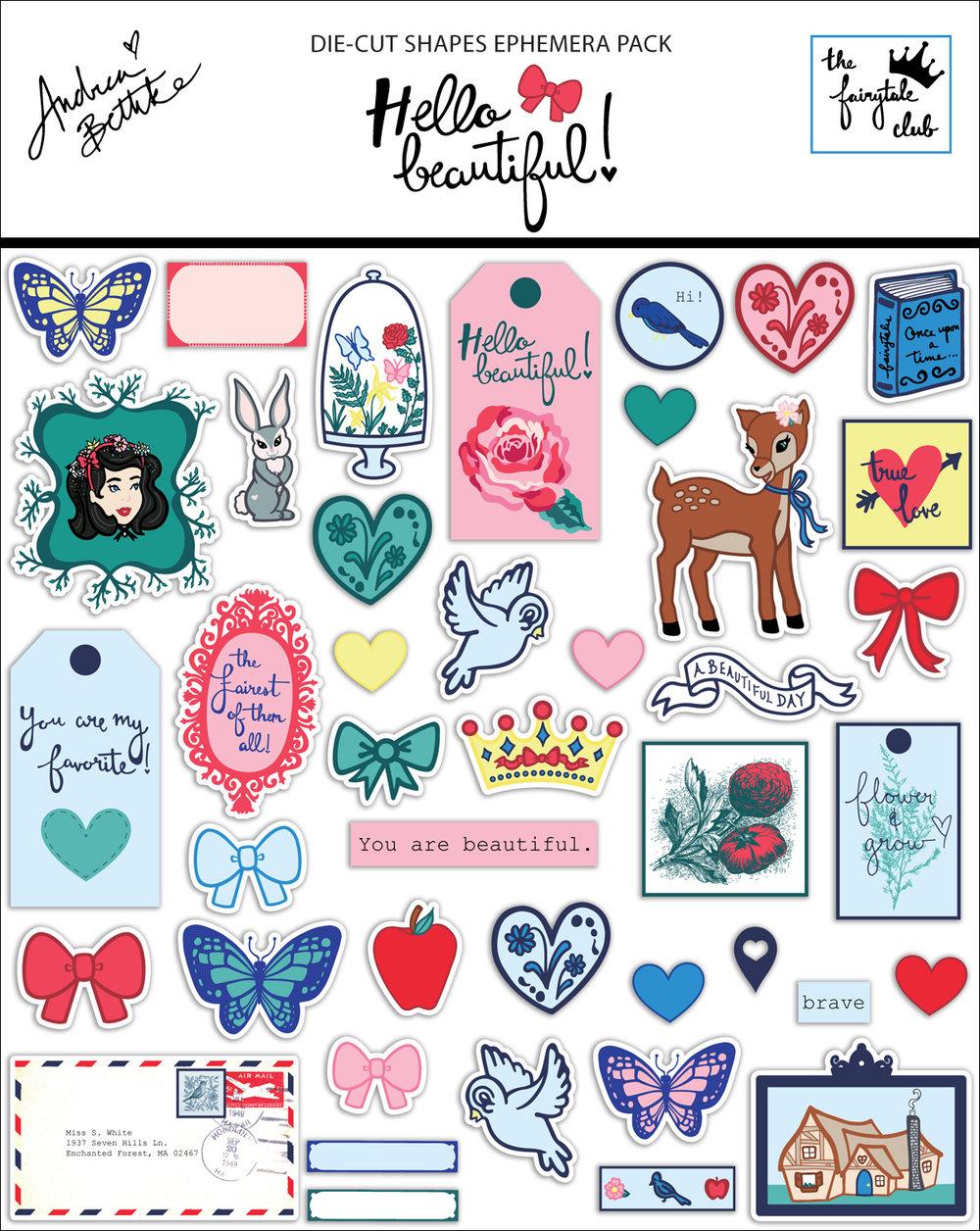 Hello Beautiful - Die Cut Shapes Ephemera Pack with packaging.jpg