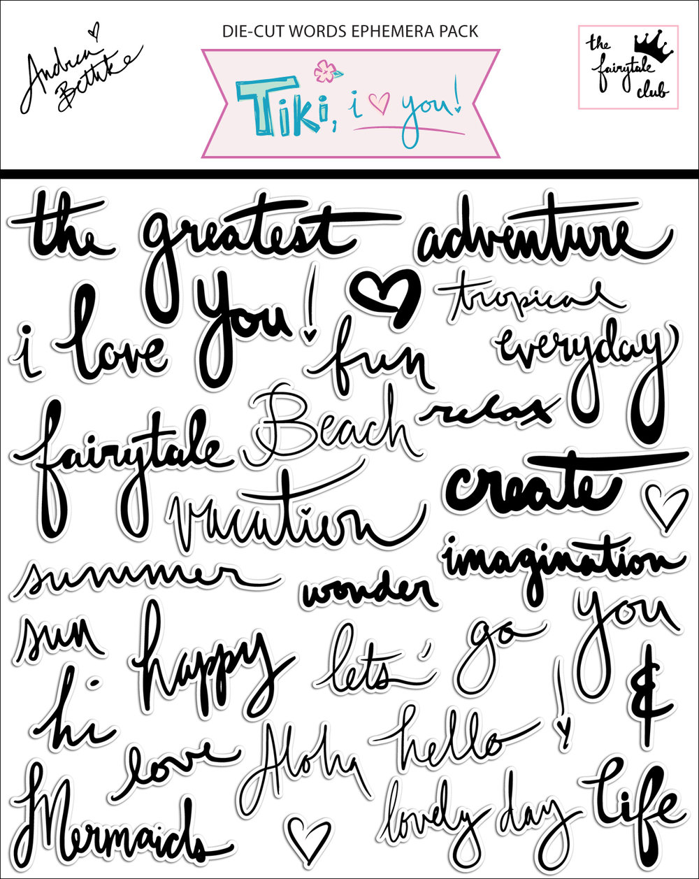 Tiki, I Love You -Words Ephemera Pack with packaging.jpg