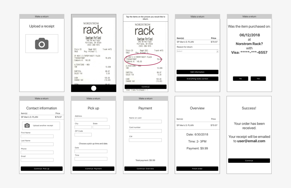 I designed an order flow concept for RR that used a picture of a receipt to fill out most of the needed information.