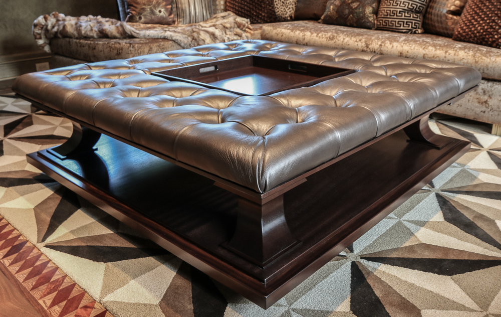 Tufted Upholstery Coffee Table Ottoman Serving Tray Detail