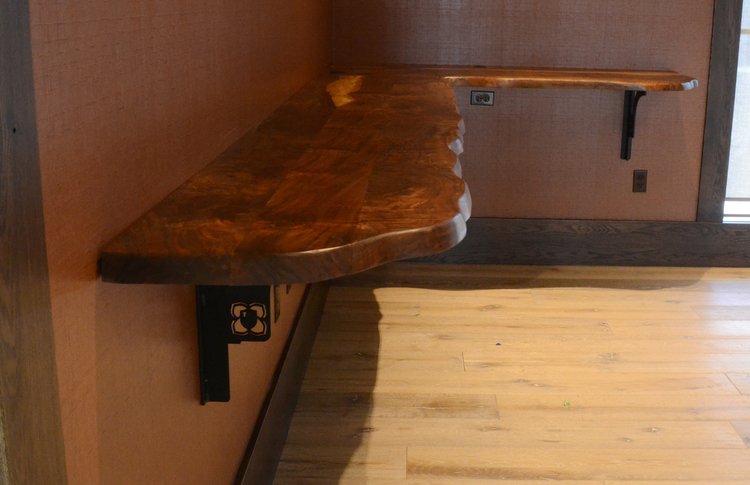Gentil Black Walnut Bar Top With Custom Brackets