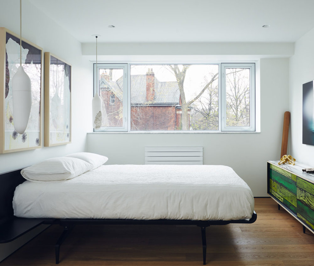 Clean lines and clean air in the master bedroom.