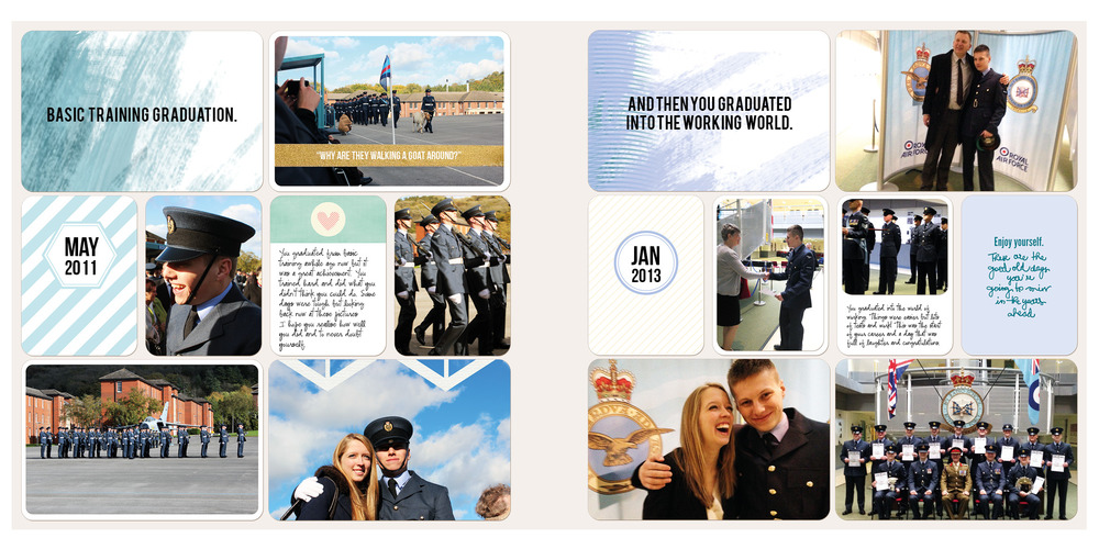 First spread based on the RAF graduations the last two years.