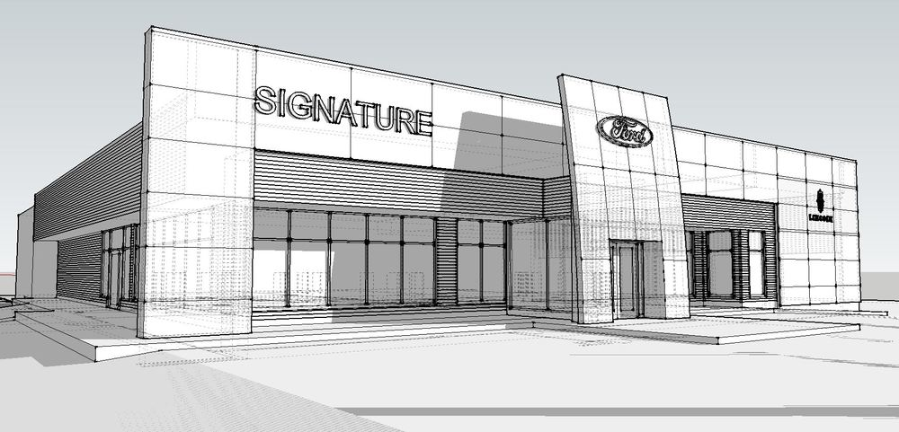 The proposed facade improvements implementing Ford Lincoln image standards.