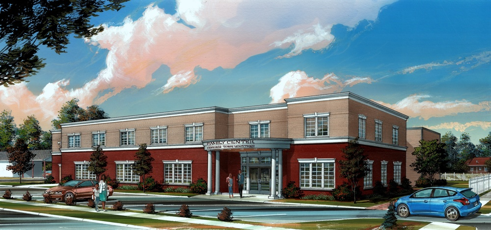 The exterior view of the proposed Family Center. Rendering by Chet Johnson.