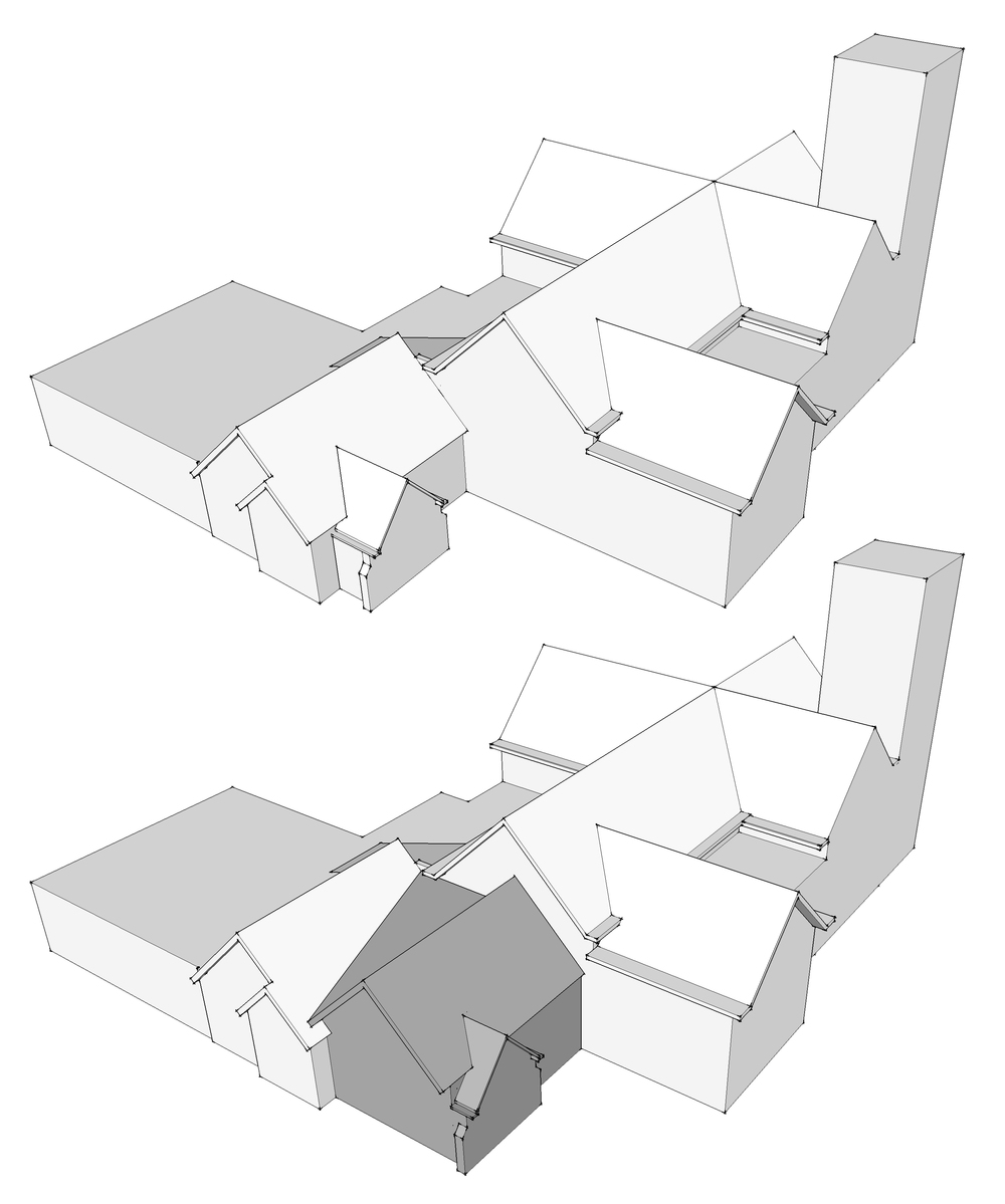 Massing models were generated to understand how a new addition could be added to an already complex building layout.