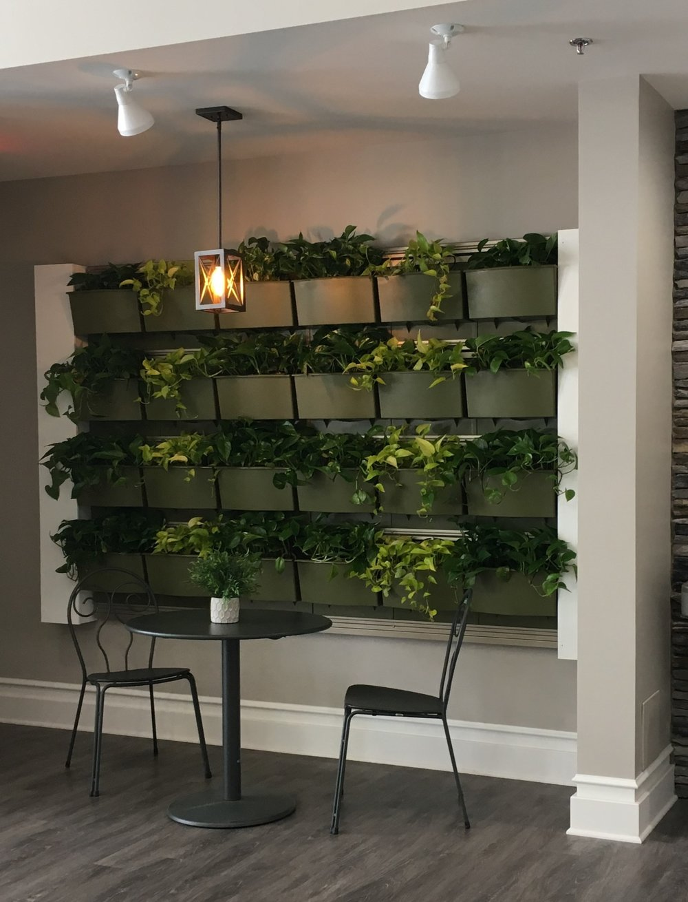 Living plant walls help to bring in color and interest to make this sitting area much more inviting.