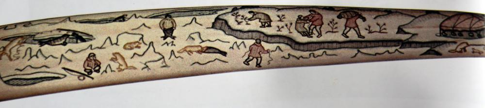"Elena Yanku. ""Fairy-tale Seal Woman."" Engraved Walrus Tusk. 1970s."