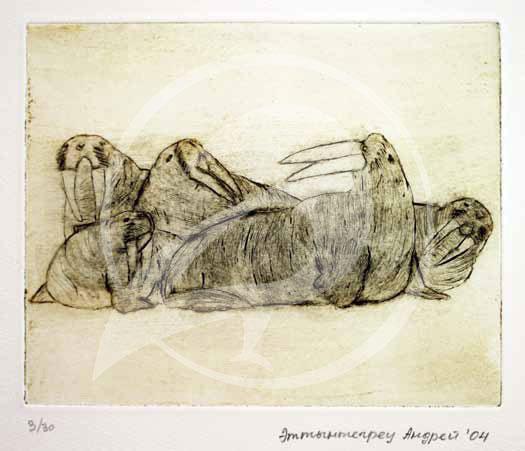 "Andrey Ettyntegrey. ""Walruses."" Etching. 2004."