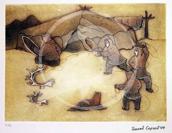 """Sergey Il'key.  """"Reindeer Herders.""""  Etching. 2004."""