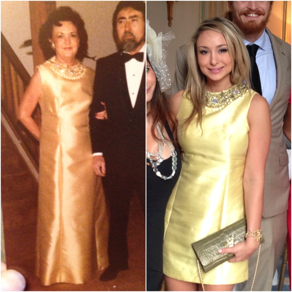On the Left, my grandmother in the 1970s on her way to a Mardi Gras Ball.  On the right, the same dress given new life at the Bal des Etoiles brunch, and me a little sleepy-eyed after a long, very fun weekend.