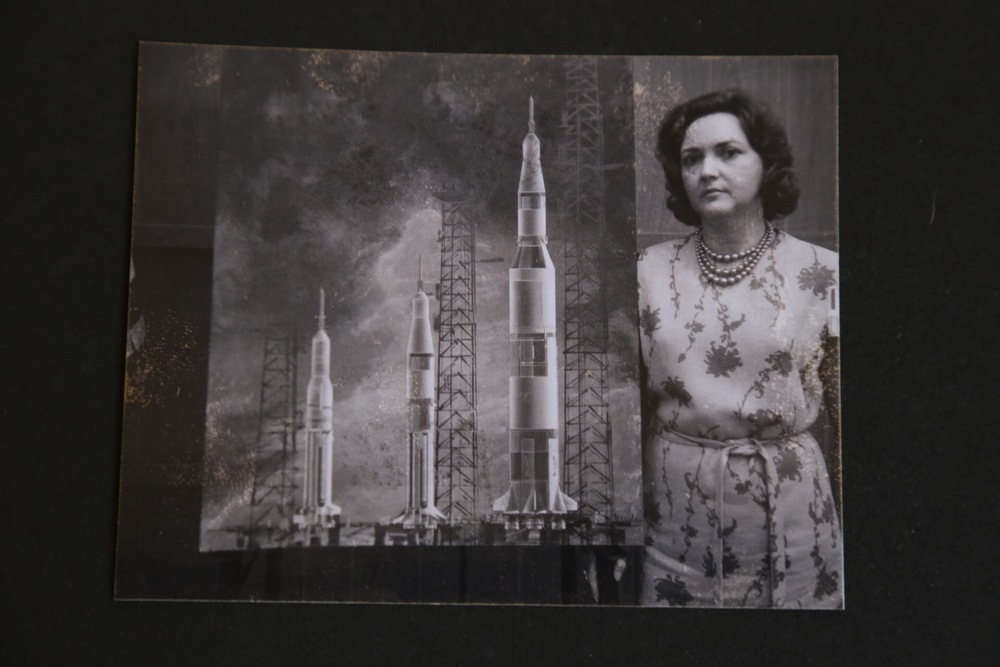 Charleston's Grandmother, Amelia, with one of her illustrations for NASA's Apollo Space Program