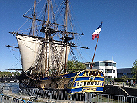 Hermione in its berth in Rochefort, France.