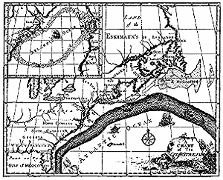 "In 1762, only five years after Lafayette was born, Benjamin Franklin named the steady northward current along America's eastern seaboard, extending from Florida to the northern Atlantic, the Gulf Stream, which he called ""a mighty river."" In the above 18th century map, the Gulf Stream is depicted in dark gray."