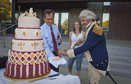 Un Grand Gateau: Lafayette Cuts His Birthday Cake in a spirited celebration at Lafayette College, Easton, Pennsylvania. Photo: Courtesy of Lafayette College