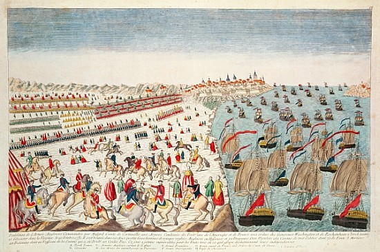 A contemporary print depicting the American-French forces on land and sea besieging Yorktown, Virginia; a well-orchestrated joint effort that led to the surrender of Lord Cornwallis and a turning point in America's fight for independence.