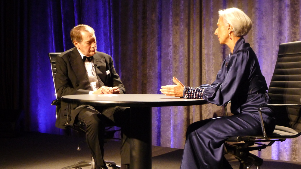During the Gala, a riveting conversation between Charlie Rose and Christine Lagarde, Managing Director, International Monetary Fund, covered a wide range of economic, political and diplomatic topics. Photo: David Lincoln Ross for Friends of Hermione-Lafayette in America