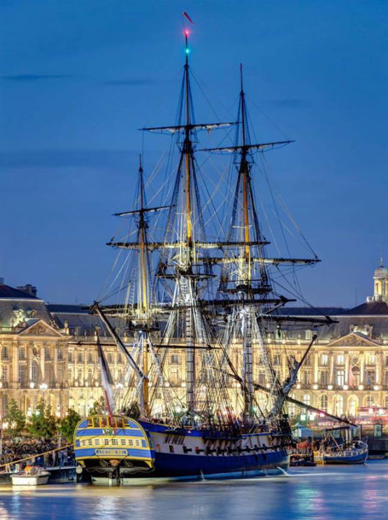 What the Gala is all about, supporting the 2015 voyage of the Hermione to the U.S., seen here dockside in Bordeaux, France, where the ship visited in early October, 2014. Photograph by ©Eric Bouloumié / www.photographe-sur-bordeaux.com