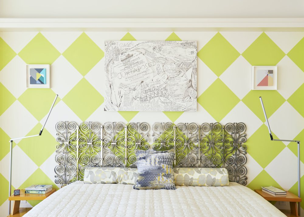 A headboard designed by Allan Greenberg sits against a green and white checkered wall. All three works pictured by Judith Seligson. Photograph by Kyle Knodell. Courtesy Paddle8.