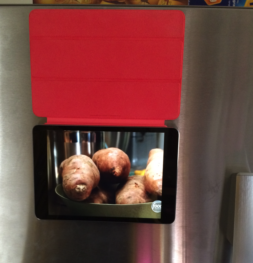 iPad mini with Retina display, Smart Cover, and DISH Anywhere makes a great fridge magnet TV. Click to enlarge.