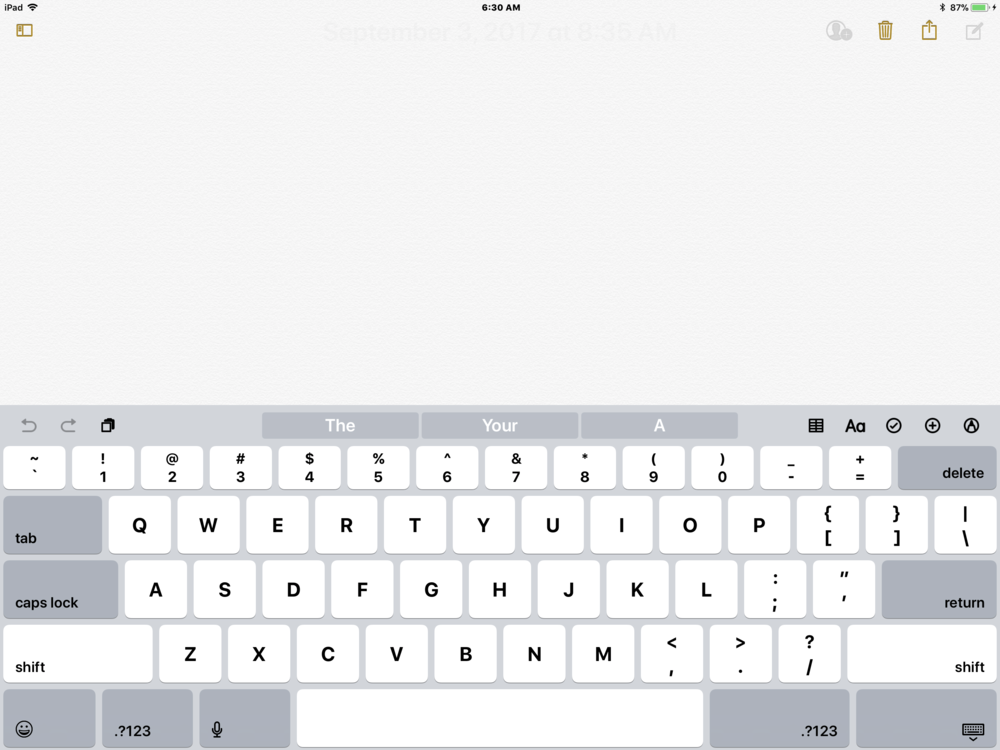 Notes app with iOS 11 keyboard