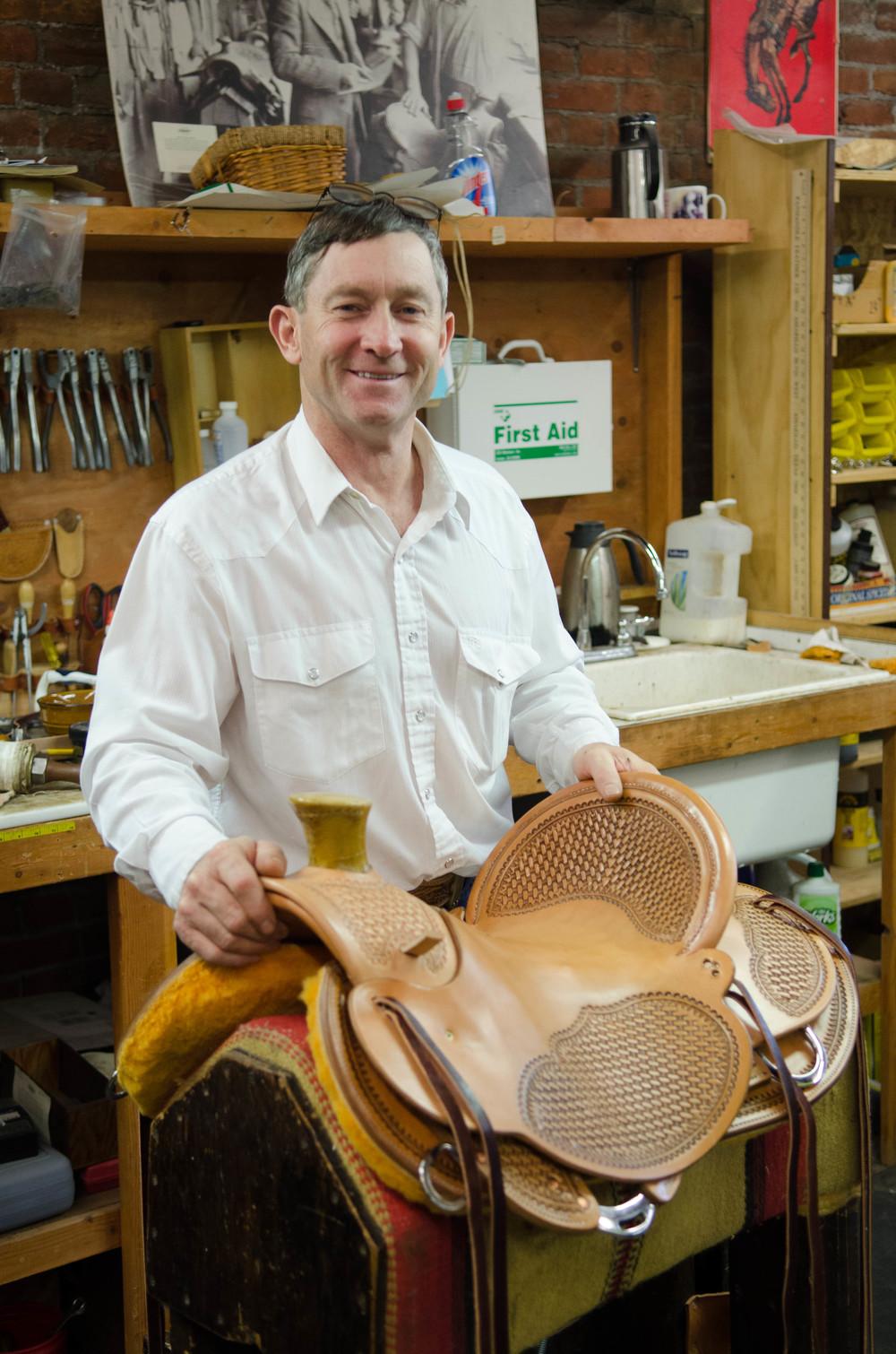 Terry Rekow, saddle maker, Pendleton, Oregon.