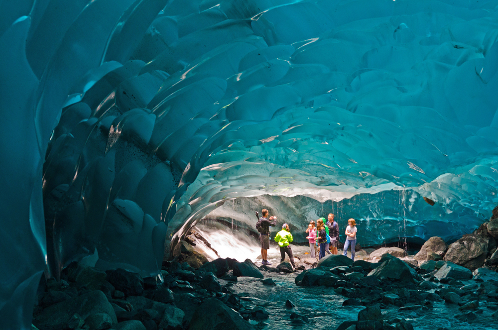 Ice cave beneath the Mendenhall glacier.  Juneau, Alaska.