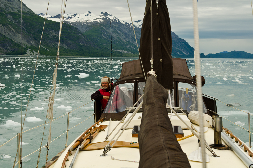 Captain Bob negotiates the ice of glacier bay.
