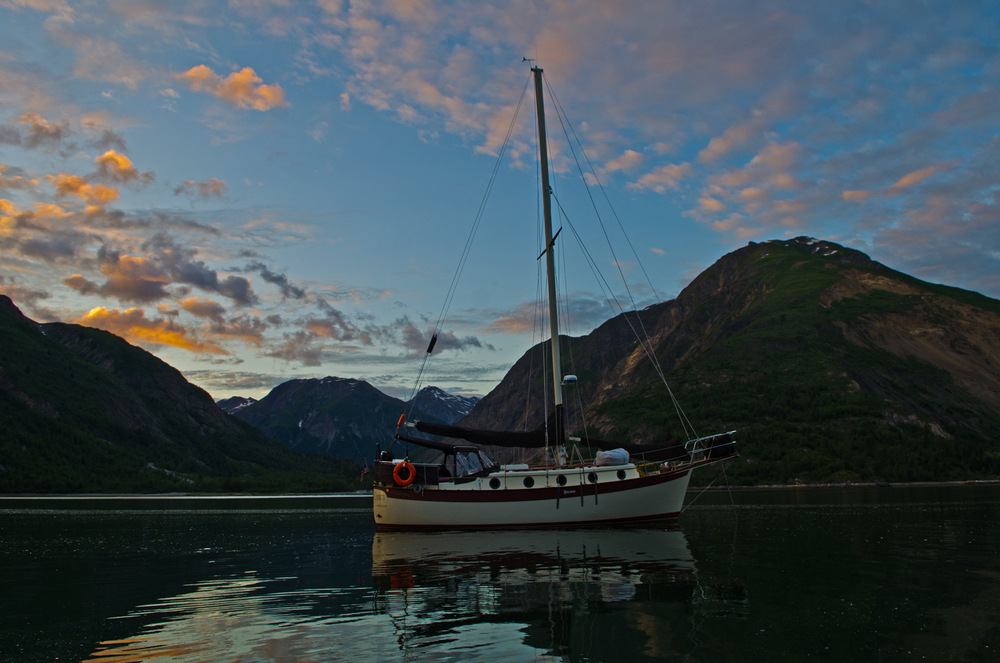 Late night, Tidewater Inlet, Glacier Bay, Alaska.