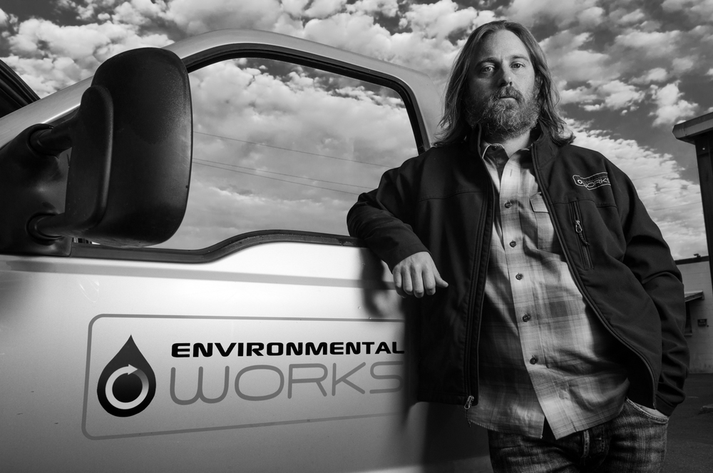 Matt Lawrence, one of the owners of Environmental Works, poses for a portrait.